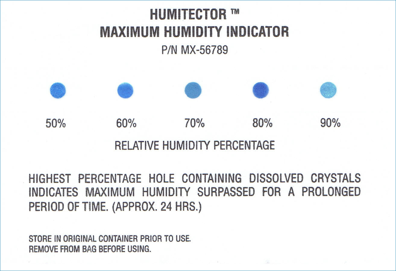 Irreversible humidity indicators