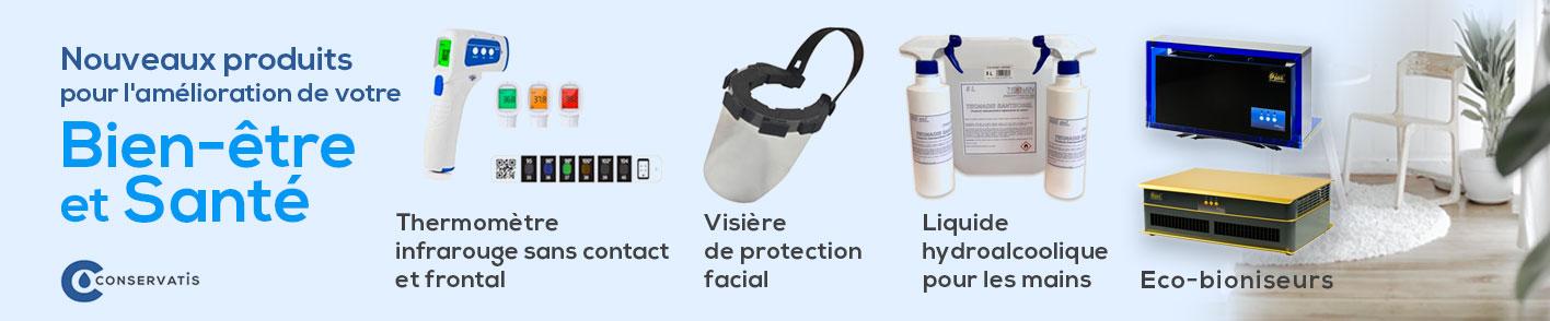 Thermomètre infrarouge sans contact et frontal, Visière de protection facial, Liquide hydroalcoolique, eco-bioniseurs