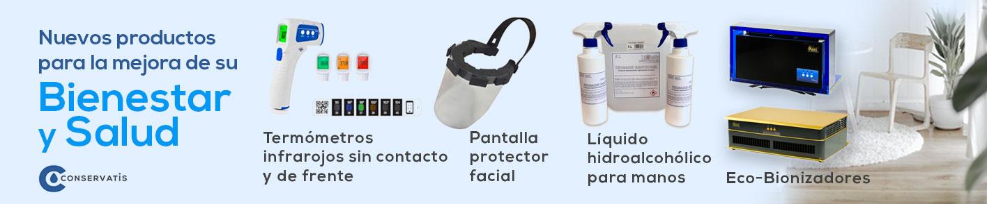 Termómetro infrarojo sin contacto y de frente, pantalla protección facial, liquido hidroalcoólico, eco-bionizadores
